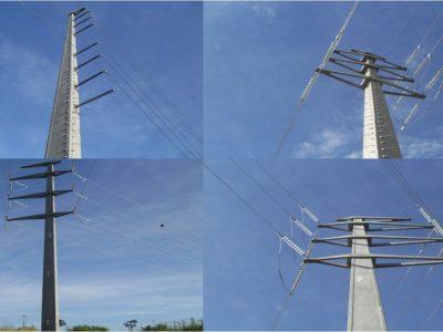 Linha com postes no padrao A
